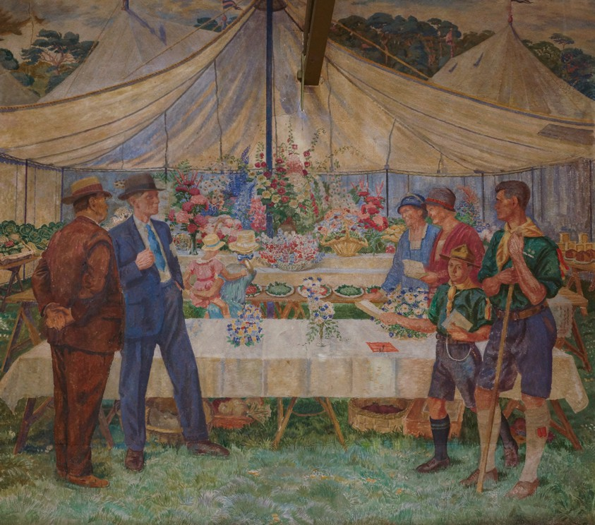 Flower Show depicted in Woodgreen's Village Hall murals (1932).